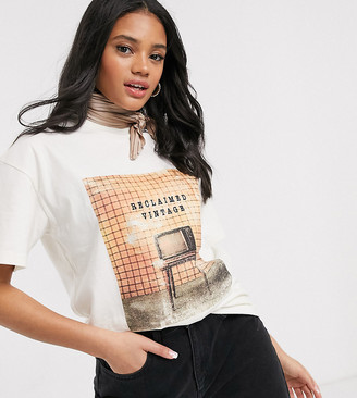 Reclaimed Vintage inspired oversized off white t-shirt with retro print
