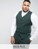 Asos Plus Slim Suit Waistcoat In Green