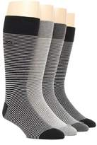 Calvin Klein Mens 4-pack Striped Dress Socks, Shoe Size 7-12 (Grey / Black / Charcoal)