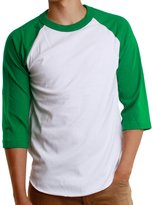 Paris Says Men's Athletic 3/4 Raglan Sleeve Plain Baseball Jersey T Shirt (3X-Large, White/Black)