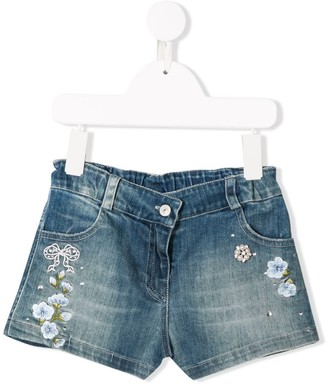 Lapin House Floral Embroidery Denim Shorts