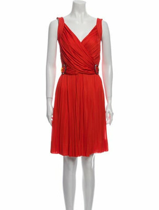 Gucci V-Neck Knee-Length Dress Orange