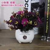 Artificial Flower SituMi SituMi Artificial Fake Flowers Home Decoration Summer Ceramic Vases,Aubergine Daisiesb)