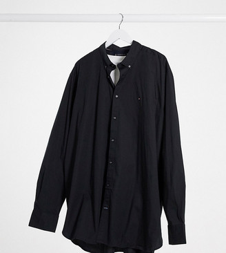 Tommy Hilfiger Big & Tall flag logo stretch poplin shirt in black