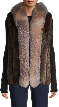 Wolfie Fur Made For Generation Dyed Beaver Fox Fur-Trim Vest