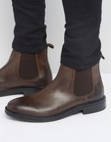 Asos Chelsea Boots In Brown Leather With Heavy Sole