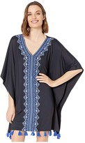 Cabana Life Essentials Embroidered Cover-Up (Black) Women's Swimwear