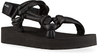 Prada Padded Leather Sport Sandals