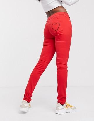 Love Moschino glitter heart pocket red skinny jeans