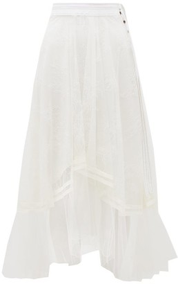 Chloé Asymmetric Chantilly-lace And Silk-crepe Skirt - Womens - White
