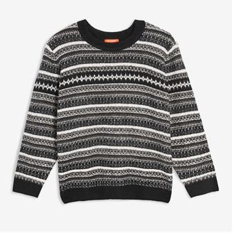 Joe Fresh Women+ Jacquard Knit Sweater, Black (Size 3X)