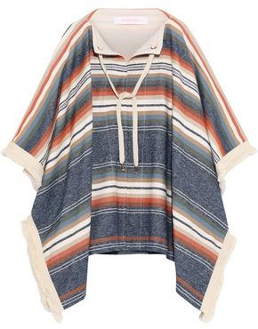See by Chloe Fringe-trimmed Striped Canvas Poncho