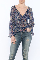 Hommage Navy Paisley Print Blouse