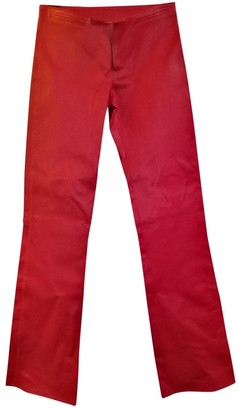 Chrome Hearts Red Leather Trousers