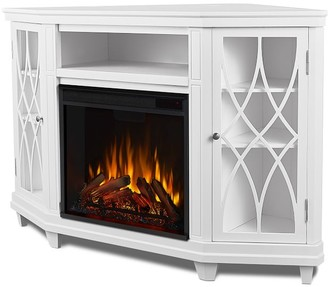 """Pottery Barn Real Flame 56.25"""" Lynette Corner Electric Fireplace Media Cabinet"""