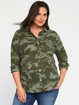 Old Navy Classic Plus-Size Slub-Weave Camo Shirt