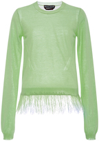 Rochas Green Sweater with Lace Hem