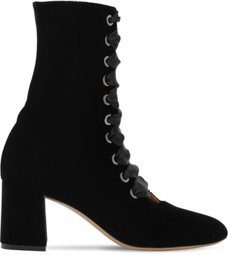 70mm Lace-Up Velvet Ankle Boots