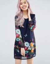 Yumi Long Sleeve Shift Dress In Floral & Butterfly Print