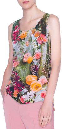 Akris Punto Cherry Cactus Silk Tunic Top