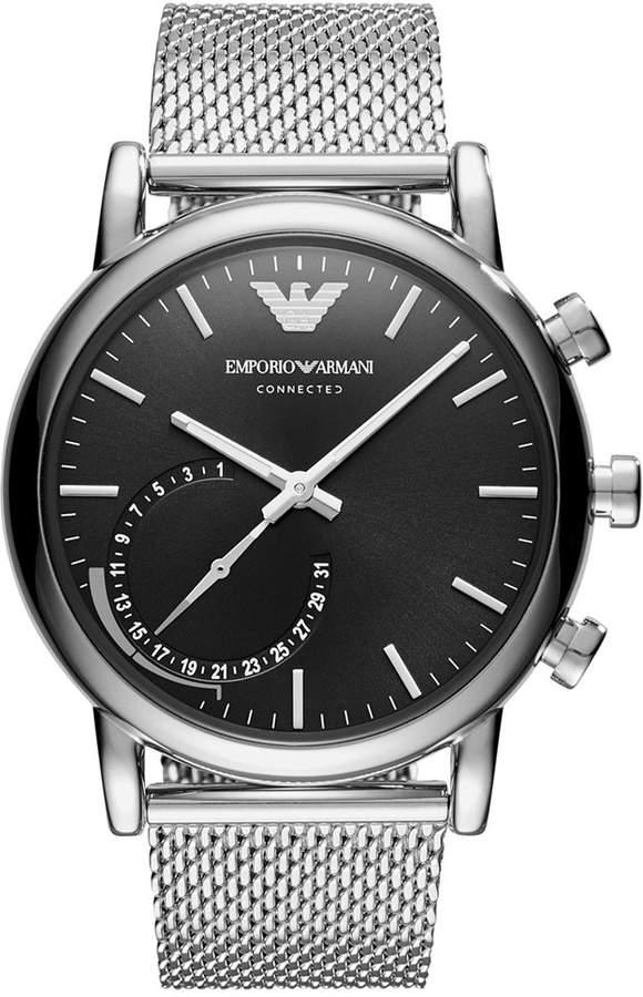 Emporio Armani Men's Connected Stainless Steel Mesh Bracelet Hybrid Smart Watch 43mm