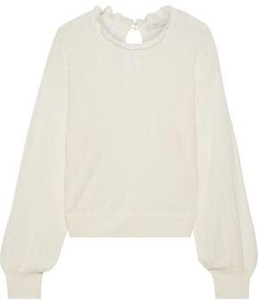 Joie Hadar Ruffle-trimmed Pointelle-knit Wool-blend Sweater