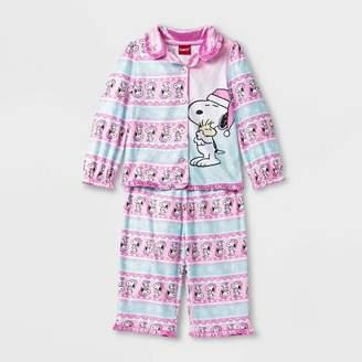 Peanuts Toddler Girls' Coat Pajama Set - Blue/Pink