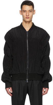 Winnie New York Black Pleated Bomber Jacket