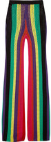 Balmain Striped Open-knit Flared Pants - Green