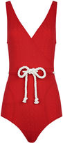 Lisa Marie Fernandez Tomato Red Yasmin Drawstring Swimsuit