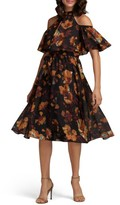 ECI Women's Floral Print Cold Shoulder Dress