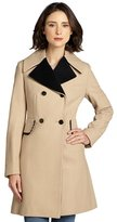 Betsey Johnson camel and black wool double breasted three quarter coat