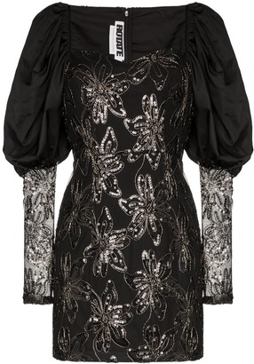Rotate by Birger Christensen Puff-Sleeve Sequinned Mini Dress