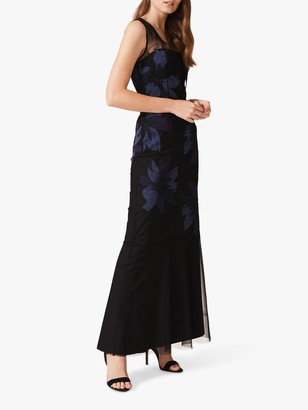 Phase Eight Barbara Applique Floral Dress, Black/Navy