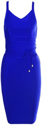 HLBandage Polyester Women's Spaghetti Strap V Neck Sashes Strap Lacing Bodycon Bandage Dress(S