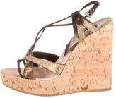 Prada Snakeskin-Trimmed Wedge Sandals