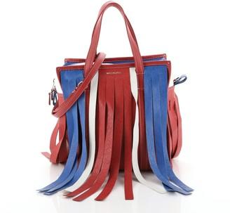 Balenciaga Bazar Convertible Tote Fringe Striped Leather Small