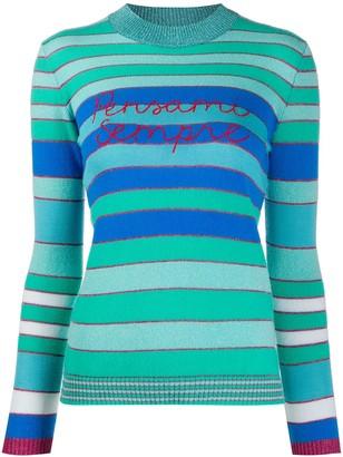 Sempre Giada Benincasa Pensami embroidered striped jumper