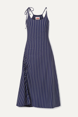 Solid & Striped Bead-embellished Ruched Striped Stretch-jersey Midi Dress - Navy