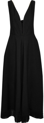 Nina Ricci Tie-back Fringe-trimmed Crepe Maxi Dress