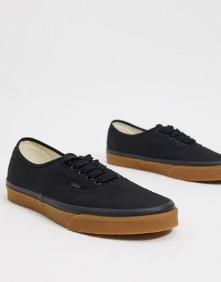 Vans Authentic sneaker with gum sole in black