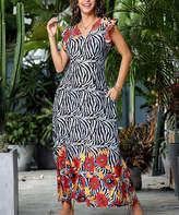Reborn Collection Women's Maxi Dresses Black - Black & Red Zebra Ruffle Cap-Sleeve Maxi Dress - Women