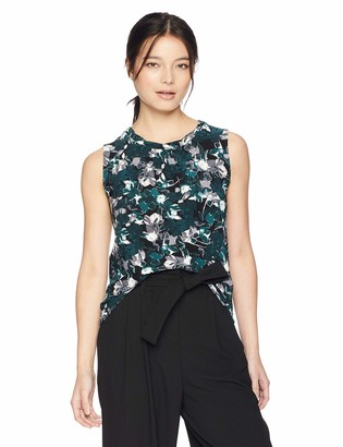 Kasper Women's Petite Sleeveless Jewel Neck Printed ITY