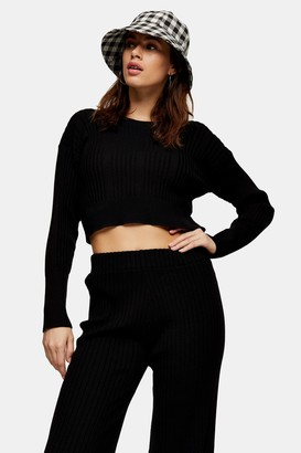 Topshop Womens Black Ribbed Knitted Top - Black