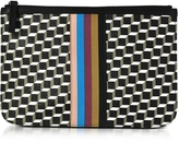 Pierre Hardy Large Black and White Cube and Stripes Canvas and Leather Pouch