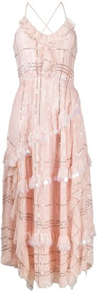 Temperley London Embroidered Flared Midi Dress