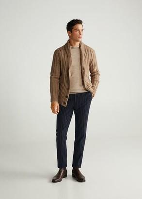 MANGO MAN - Pinstripe wool pants dark navy - 28 - Men