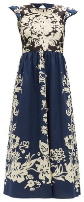 RED Valentino Floral-print Cotton Midi Dress - Womens - Navy White