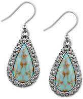 Lucky Brand Silver-Tone Blue-Stone Teardrop Drop Earrings