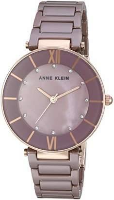 Anne Klein Women's AK/3266MVRG Swarovski Crystal Accented Mauve Ceramic Bracelet Watch